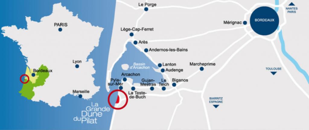 Plan d'accès parapente dune du Pilat